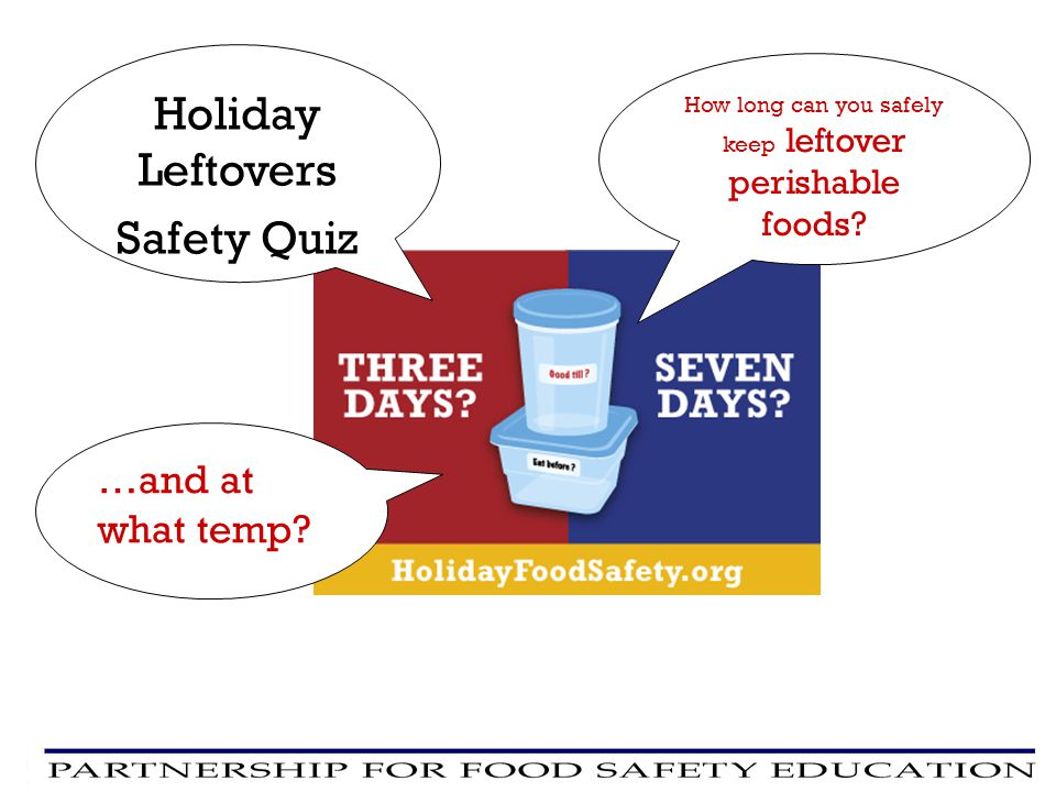Holiday Leftovers Safety Quiz How long can you safely keep leftover perishable foods? …and at what temp?
