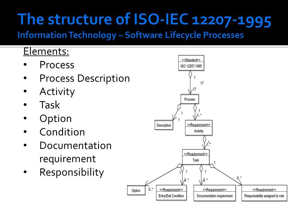Elements: Process Process Description Activity Task Option Condition Documentation requirement Responsibility