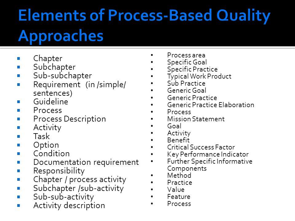 Chapter Subchapter Sub-subchapter Requirement (in /simple/ sentences) Guideline Process Process Description Activity Task Option Condition Documentati