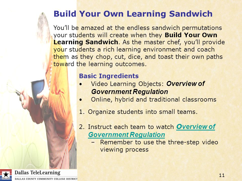 11 Build Your Own Learning Sandwich Basic Ingredients Video Learning Objects: Overview of Government Regulation Online, hybrid and traditional classrooms Youll be amazed at the endless sandwich permutations your students will create when they Build Your Own Learning Sandwich.