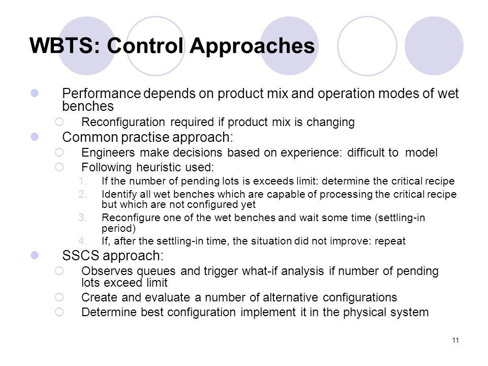 11 WBTS: Control Approaches Performance depends on product mix and operation modes of wet benches Reconfiguration required if product mix is changing Common practise approach: Engineers make decisions based on experience: difficult to model Following heuristic used: 1.If the number of pending lots is exceeds limit: determine the critical recipe 2.Identify all wet benches which are capable of processing the critical recipe but which are not configured yet 3.Reconfigure one of the wet benches and wait some time (settling-in period) 4.If, after the settling-in time, the situation did not improve: repeat SSCS approach: Observes queues and trigger what-if analysis if number of pending lots exceed limit Create and evaluate a number of alternative configurations Determine best configuration implement it in the physical system