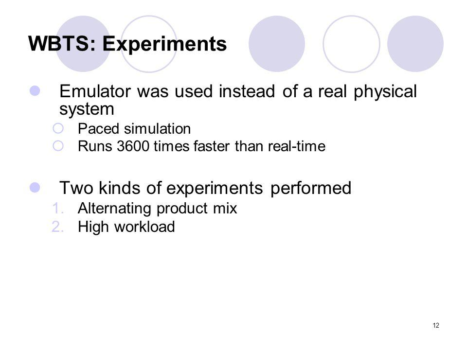 12 WBTS: Experiments Emulator was used instead of a real physical system Paced simulation Runs 3600 times faster than real-time Two kinds of experiments performed 1.Alternating product mix 2.High workload