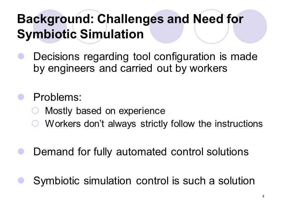 4 Background: Challenges and Need for Symbiotic Simulation Decisions regarding tool configuration is made by engineers and carried out by workers Problems: Mostly based on experience Workers dont always strictly follow the instructions Demand for fully automated control solutions Symbiotic simulation control is such a solution