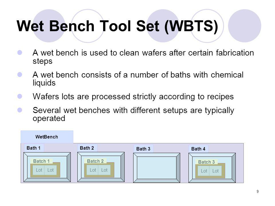 9 Wet Bench Tool Set (WBTS) A wet bench is used to clean wafers after certain fabrication steps A wet bench consists of a number of baths with chemica
