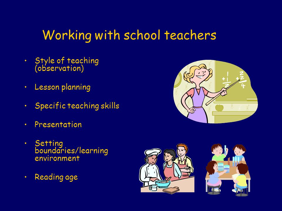 Working with school teachers Style of teaching (observation) Lesson planning Specific teaching skills Presentation Setting boundaries/learning environ