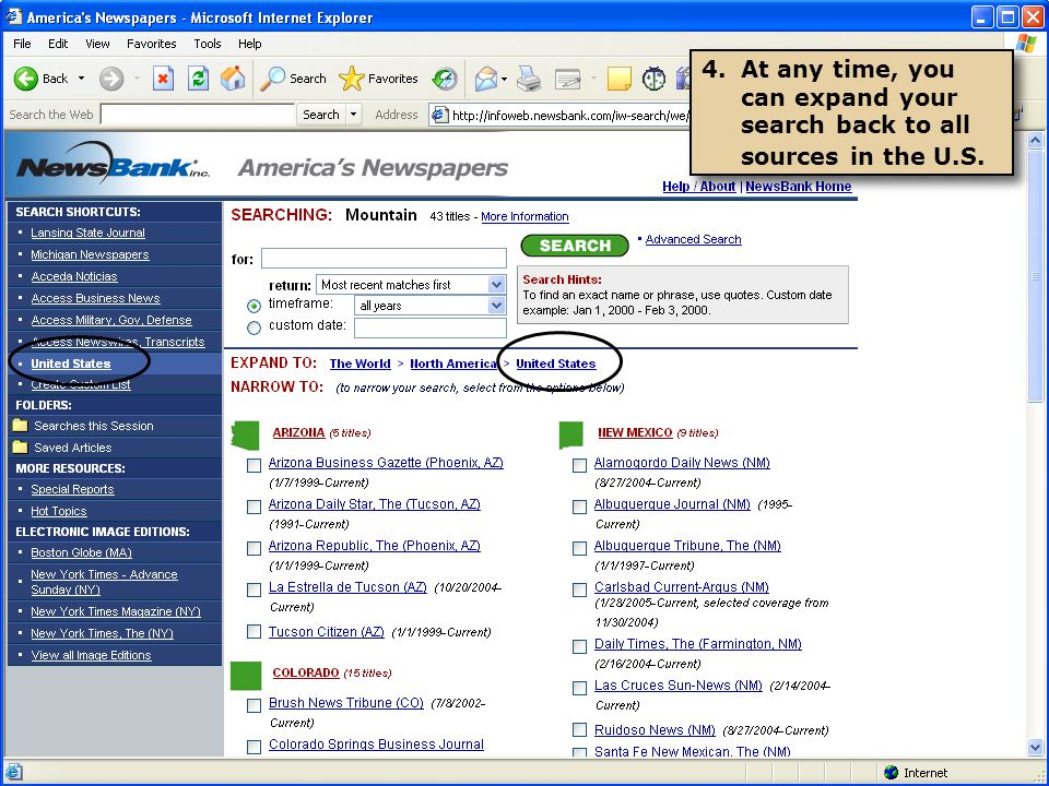 4.At any time, you can expand your search back to all sources in the U.S.