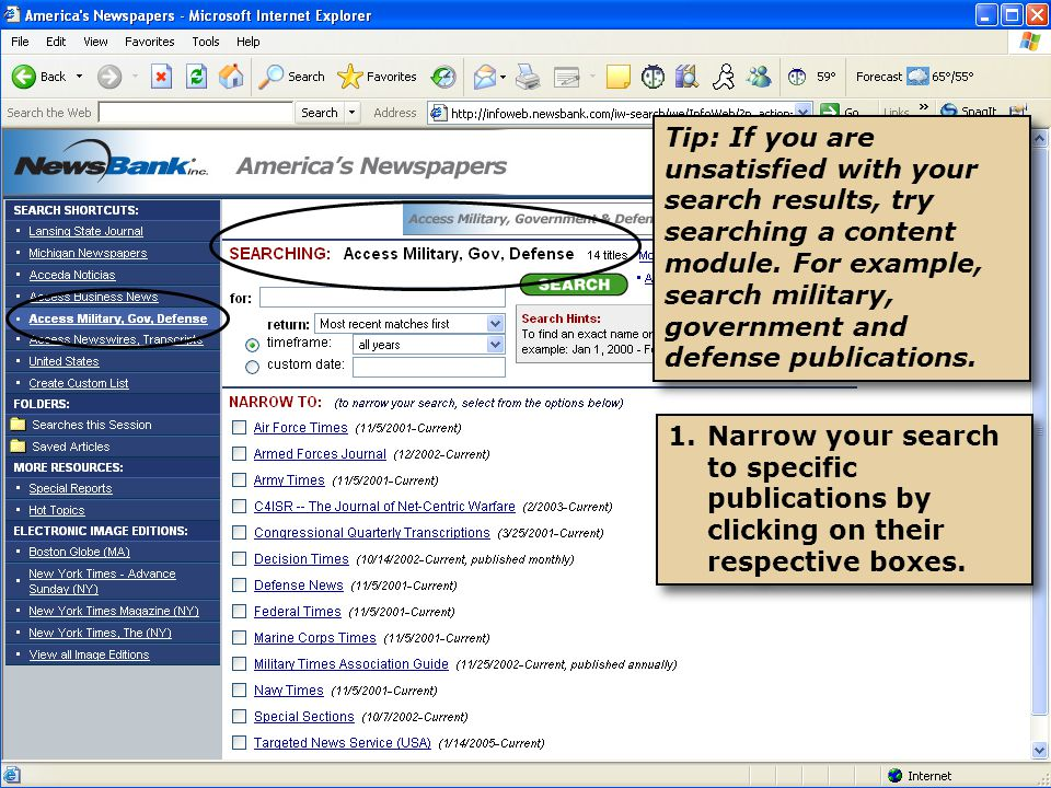 1.Narrow your search to specific publications by clicking on their respective boxes.