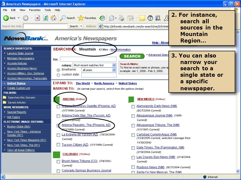 1.Choose Basic Search, and select all papers in the New England region.