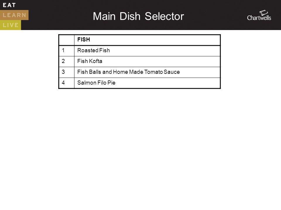 FISH 1Roasted Fish 2Fish Kofta 3Fish Balls and Home Made Tomato Sauce 4Salmon Filo Pie Main Dish Selector