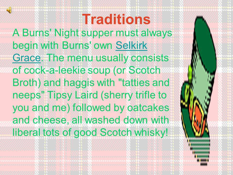 Recipes Haggis and neeps and tattiesHaggis and neeps and tatties Neeps and tatties in another wayNeeps and tatties in another way Cranachan Bannocks Cock-a-leekie soup Tipsy laird