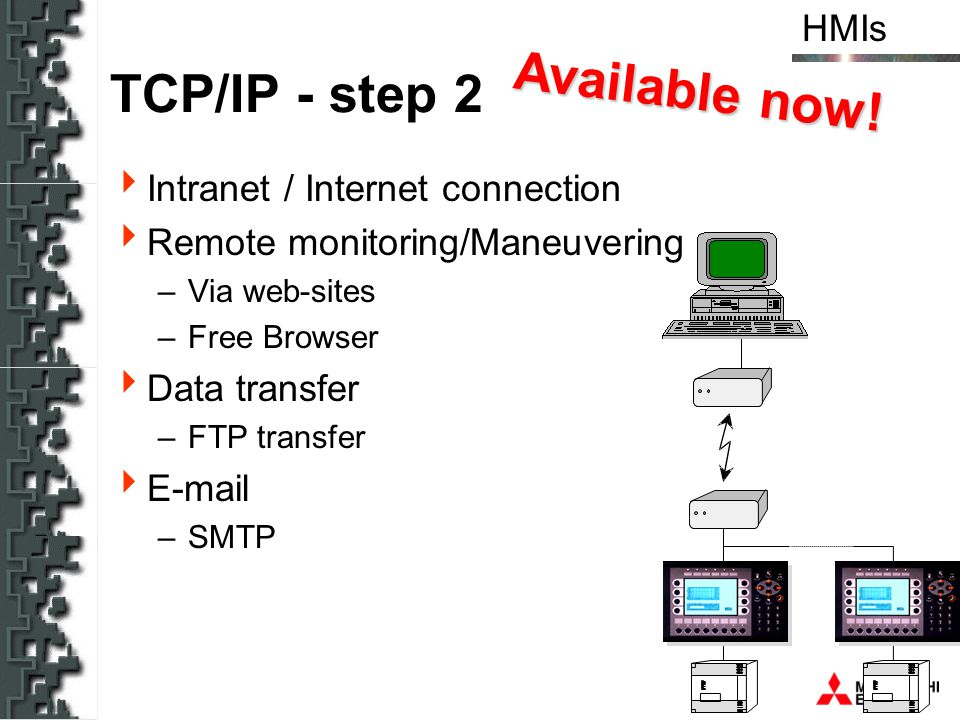 HMIs Available now! TCP/IP - step 2 Intranet / Internet connection Remote monitoring/Maneuvering –Via web-sites –Free Browser Data transfer –FTP trans