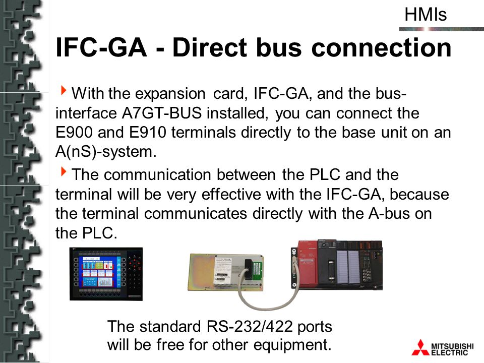 HMIs IFC-GA - Direct bus connection With the expansion card, IFC-GA, and the bus- interface A7GT-BUS installed, you can connect the E900 and E910 term