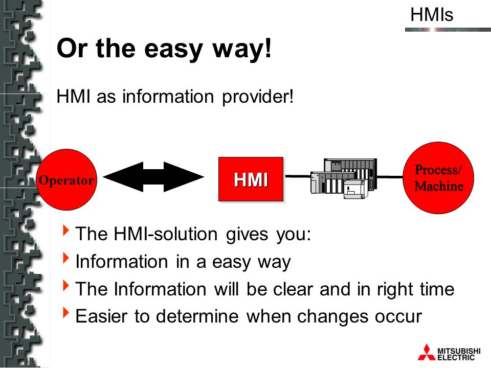 HMIs HMI Or the easy way! HMI as information provider! The HMI-solution gives you: Information in a easy way The Information will be clear and in righ