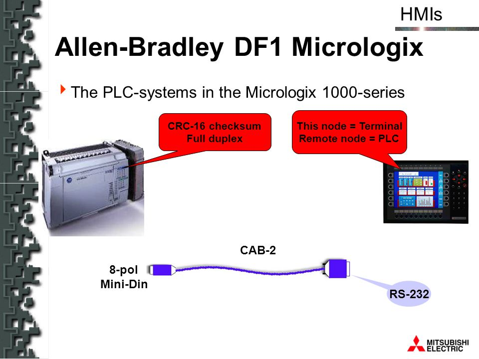 HMIs Allen-Bradley DF1 Micrologix The PLC-systems in the Micrologix 1000-series CAB-2 RS-232 This node = Terminal Remote node = PLC CRC-16 checksum Fu