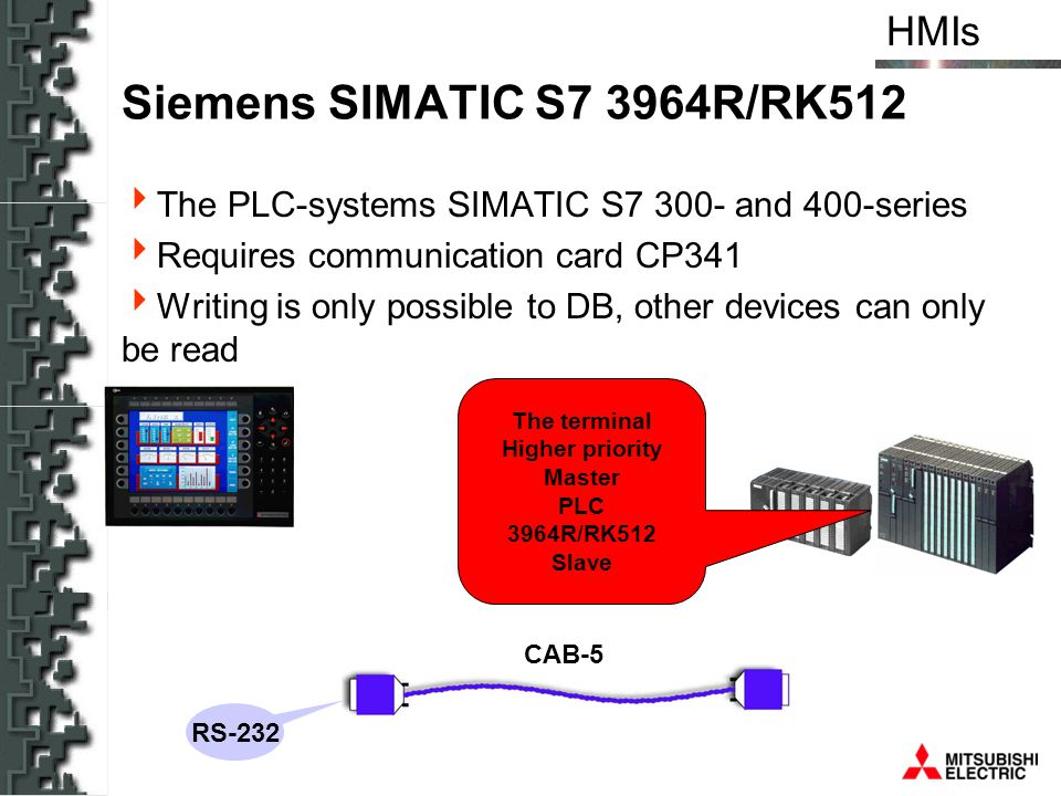HMIs Siemens SIMATIC S7 3964R/RK512 The PLC-systems SIMATIC S7 300- and 400-series Requires communication card CP341 Writing is only possible to DB, o