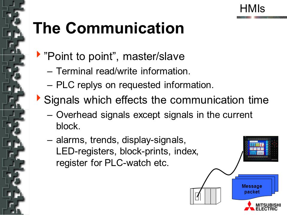 HMIs Message packet The Communication Point to point, master/slave –Terminal read/write information. –PLC replys on requested information. Signals whi