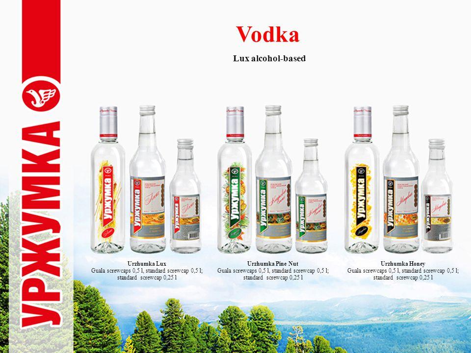 Vodka Lux alcohol-based Urzhumka Lux Guala screwcaps 0,5 l, standard screwcap 0,5 l; standard screwcap 0,25 l Urzhumka Pine Nut Guala screwcaps 0,5 l, standard screwcap 0,5 l; standard screwcap 0,25 l Urzhumka Honey Guala screwcaps 0,5 l, standard screwcap 0,5 l; standard screwcap 0,25 l