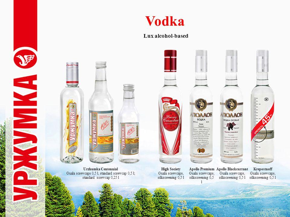 Vodka Lux alcohol-based Urzhumka Centennial Guala screwcaps 0,5 l, standard screwcap 0,5 l; standard screwcap 0,25 l High Society Guala screwcaps, silkscreening 0,5 l Apollo Premium Guala screwcaps, silkscreening 0,5 l Apollo Blackcurrant Guala screwcaps, silkscreening 0,5 l Krepostnoff Guala screwcaps, silkscreening 0,5 l