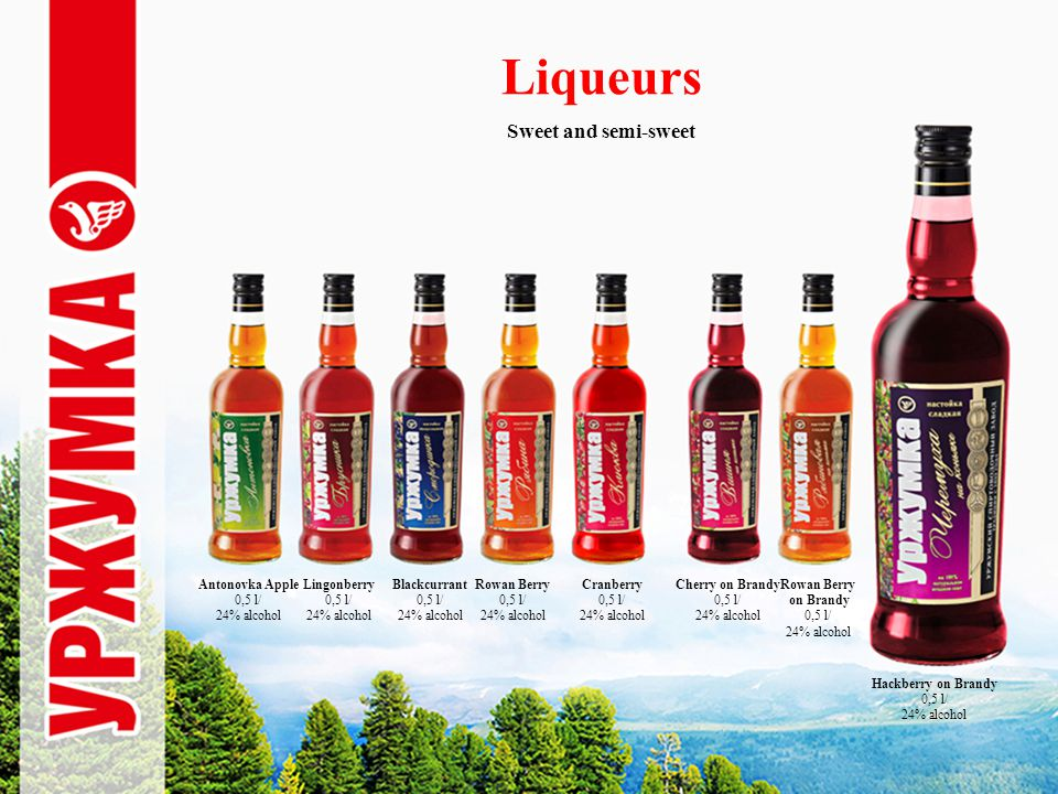 Liqueurs Sweet and semi-sweet Antonovka Apple 0,5 l/ 24% alcohol Hackberry on Brandy 0,5 l/ 24% alcohol Lingonberry 0,5 l/ 24% alcohol Rowan Berry on Brandy 0,5 l/ 24% alcohol Cherry on Brandy 0,5 l/ 24% alcohol Cranberry 0,5 l/ 24% alcohol Rowan Berry 0,5 l/ 24% alcohol Blackcurrant 0,5 l/ 24% alcohol
