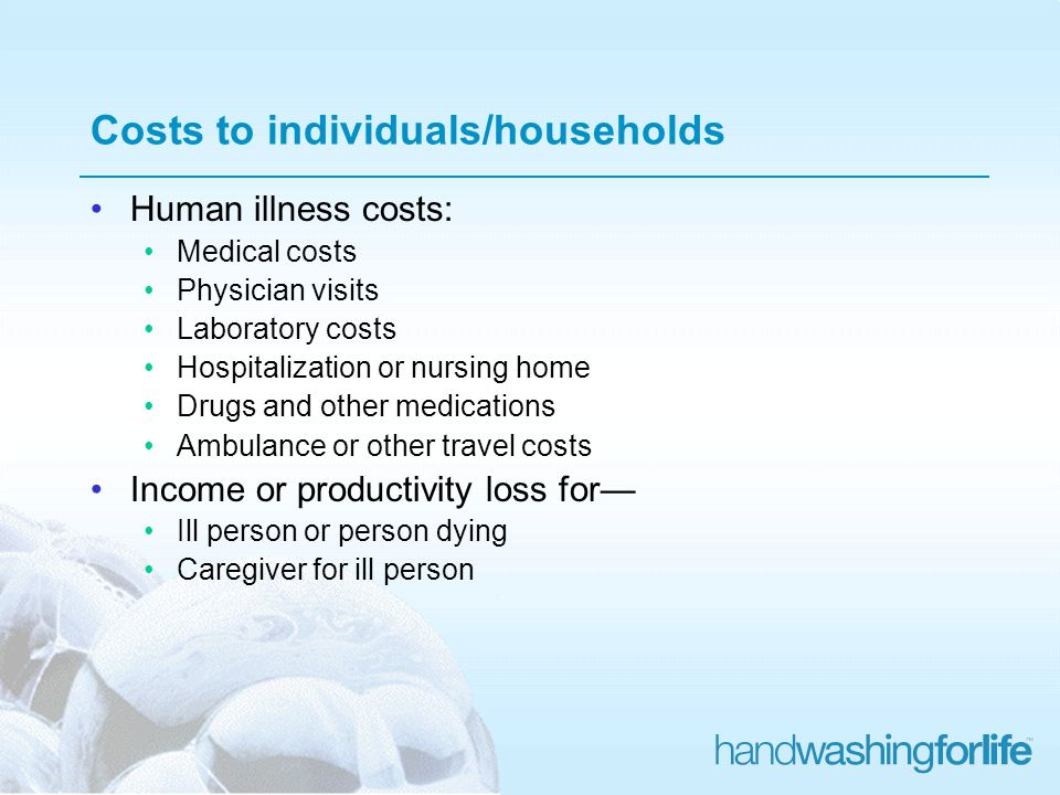 Costs to individuals/households Human illness costs: Medical costs Physician visits Laboratory costs Hospitalization or nursing home Drugs and other medications Ambulance or other travel costs Income or productivity loss for Ill person or person dying Caregiver for ill person
