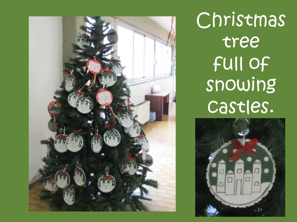 Christmas tree full of snowing castles.
