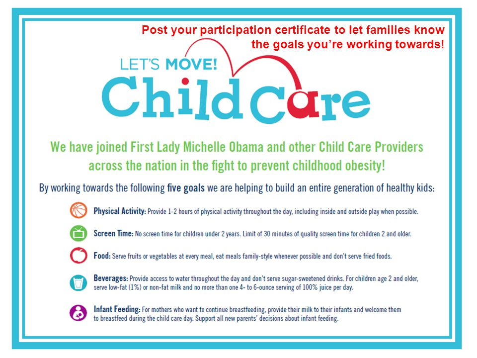 Post your participation certificate to let families know the goals youre working towards!