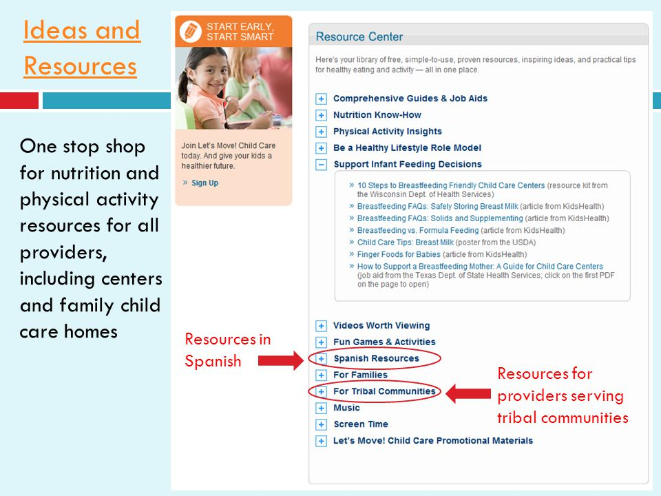 Ideas and Resources One stop shop for nutrition and physical activity resources for all providers, including centers and family child care homes Resources in Spanish Resources for providers serving tribal communities