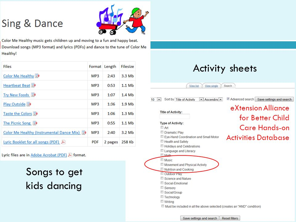 Activity sheets eXtension Alliance for Better Child Care Hands-on Activities Database Songs to get kids dancing