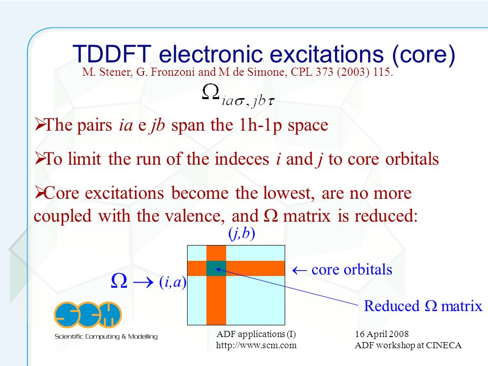 16 April 2008 ADF workshop at CINECA ADF applications (I) http://www.scm.com TDDFT electronic excitations (core) The pairs ia e jb span the 1h-1p spac