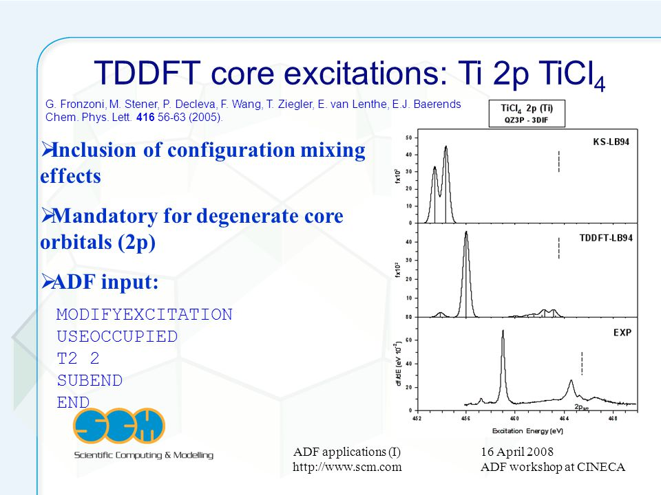 16 April 2008 ADF workshop at CINECA ADF applications (I) http://www.scm.com TDDFT core excitations: Ti 2p TiCl 4 Inclusion of configuration mixing ef