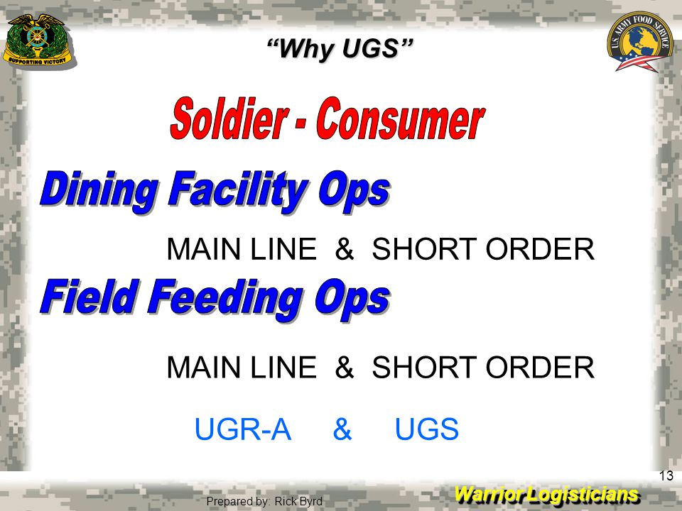 Warrior Logisticians 13 Prepared by: Rick Byrd MAIN LINE & SHORT ORDER UGR-A & UGS Why UGS