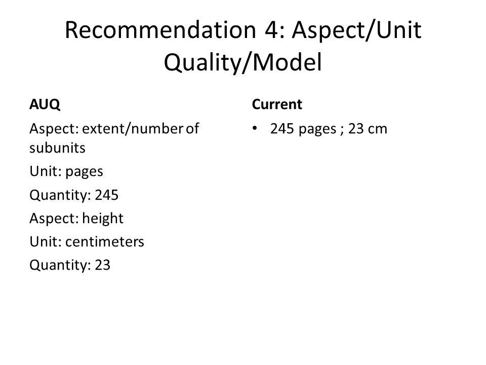 Recommendation 4: Aspect/Unit Quality/Model AUQ Aspect: extent/number of subunits Unit: pages Quantity: 245 Aspect: height Unit: centimeters Quantity: 23 Current 245 pages ; 23 cm