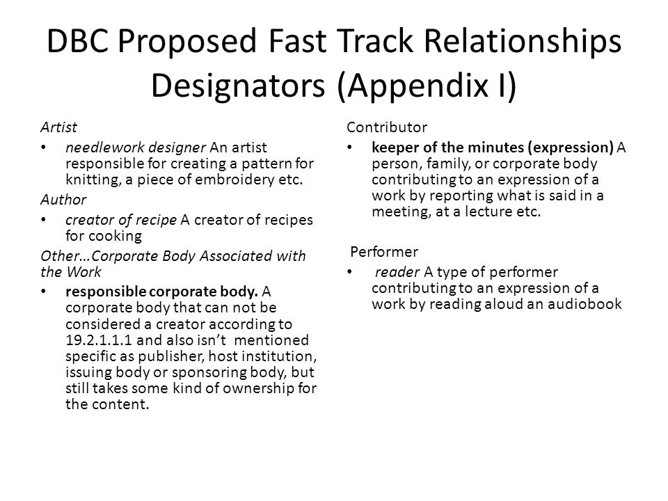 DBC Proposed Fast Track Relationships Designators (Appendix I) Artist needlework designer An artist responsible for creating a pattern for knitting, a piece of embroidery etc.