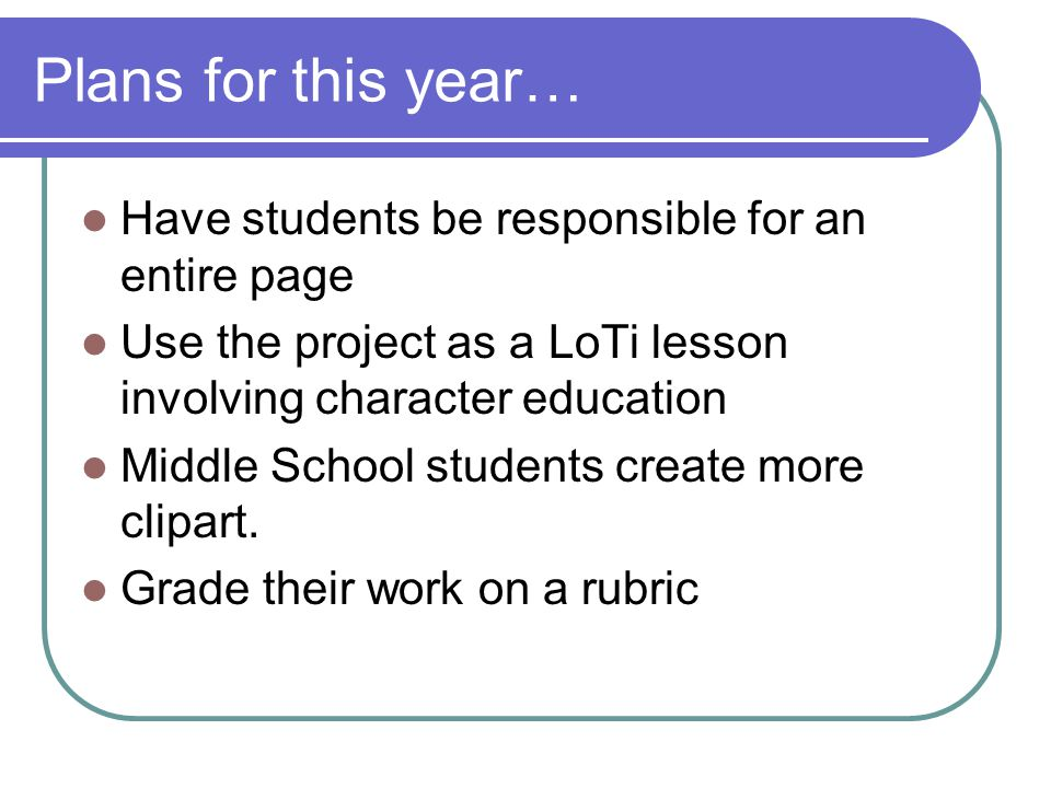 Plans for this year… Have students be responsible for an entire page Use the project as a LoTi lesson involving character education Middle School stud
