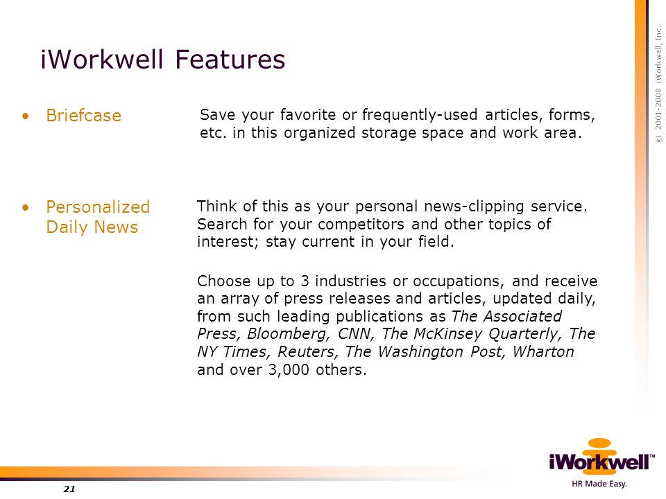 © 2001-2008 iWorkwell, Inc. 21 iWorkwell Features Personalized Daily News Think of this as your personal news-clipping service. Search for your compet