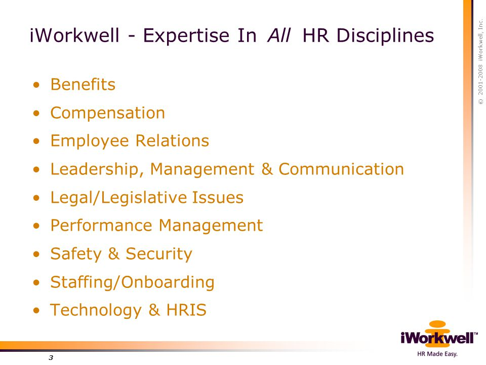 © 2001-2008 iWorkwell, Inc. 3 iWorkwell - Expertise In All HR Disciplines Benefits Compensation Employee Relations Leadership, Management & Communicat