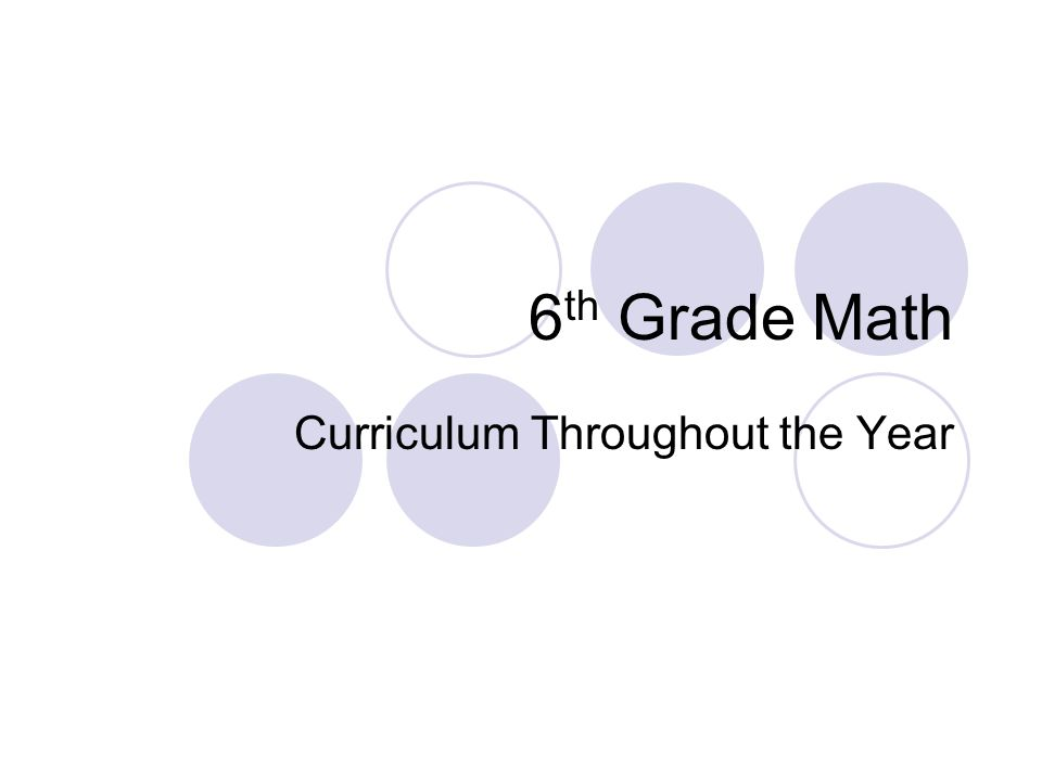 6 th Grade Math Curriculum Throughout the Year