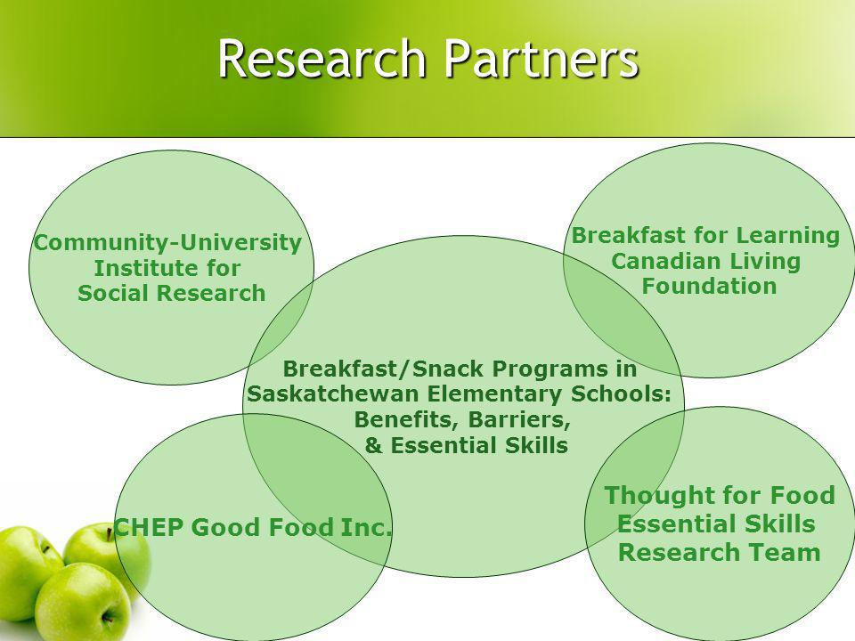 Breakfast for Learning Canadian Living Foundation Research Partners Community-University Institute for Social Research Breakfast/Snack Programs in Saskatchewan Elementary Schools: Benefits, Barriers, & Essential Skills CHEP Good Food Inc.