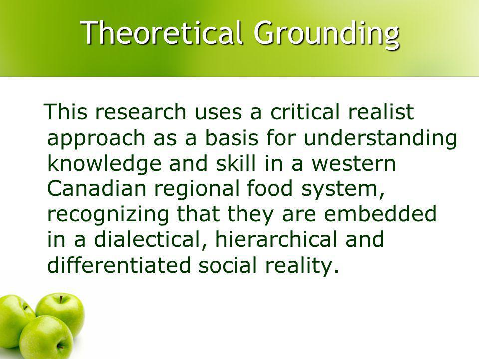 Theoretical Grounding This research uses a critical realist approach as a basis for understanding knowledge and skill in a western Canadian regional food system, recognizing that they are embedded in a dialectical, hierarchical and differentiated social reality.