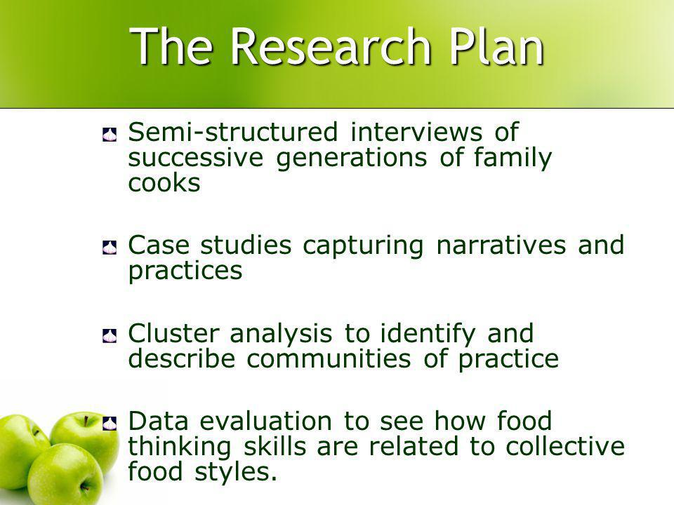 The Research Plan Semi-structured interviews of successive generations of family cooks Case studies capturing narratives and practices Cluster analysis to identify and describe communities of practice Data evaluation to see how food thinking skills are related to collective food styles.