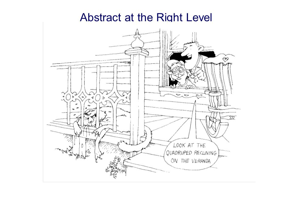 Abstraction is Relative to Domain Abstraction focuses upon the essential characteristics of some object, relative to the perspective of the viewer.