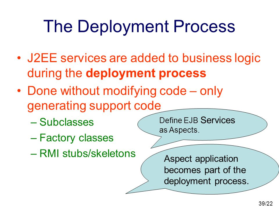 38/22 J2EE is not as good as AOP Closed and pre-defined set of services –Need a different service.