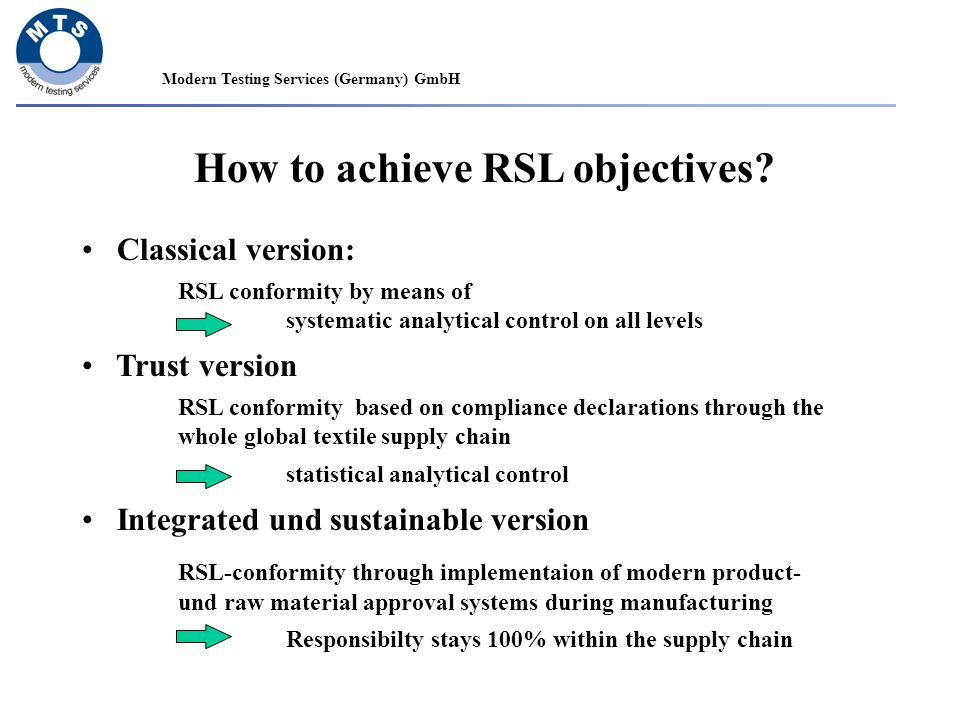 Modern Testing Services (Germany) GmbH How to achieve RSL objectives? Classical version: RSL conformity by means of systematic analytical control on a