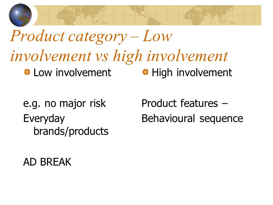 Product category – Low involvement vs high involvement Low involvement e.g. no major risk Everyday brands/products AD BREAK High involvement Product f