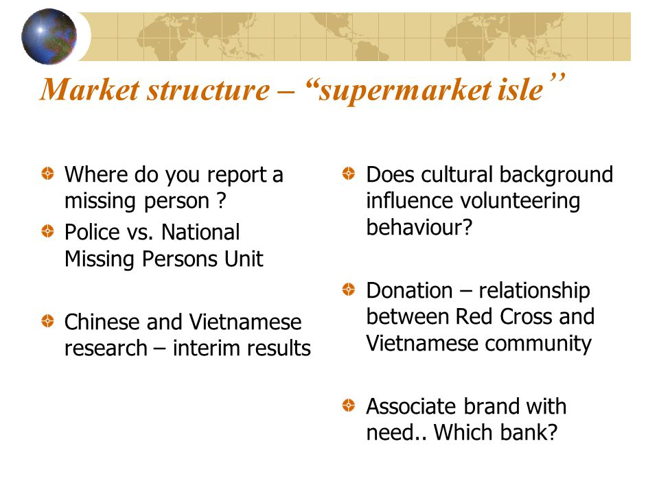 Market structure – supermarket isle Where do you report a missing person ? Police vs. National Missing Persons Unit Chinese and Vietnamese research –