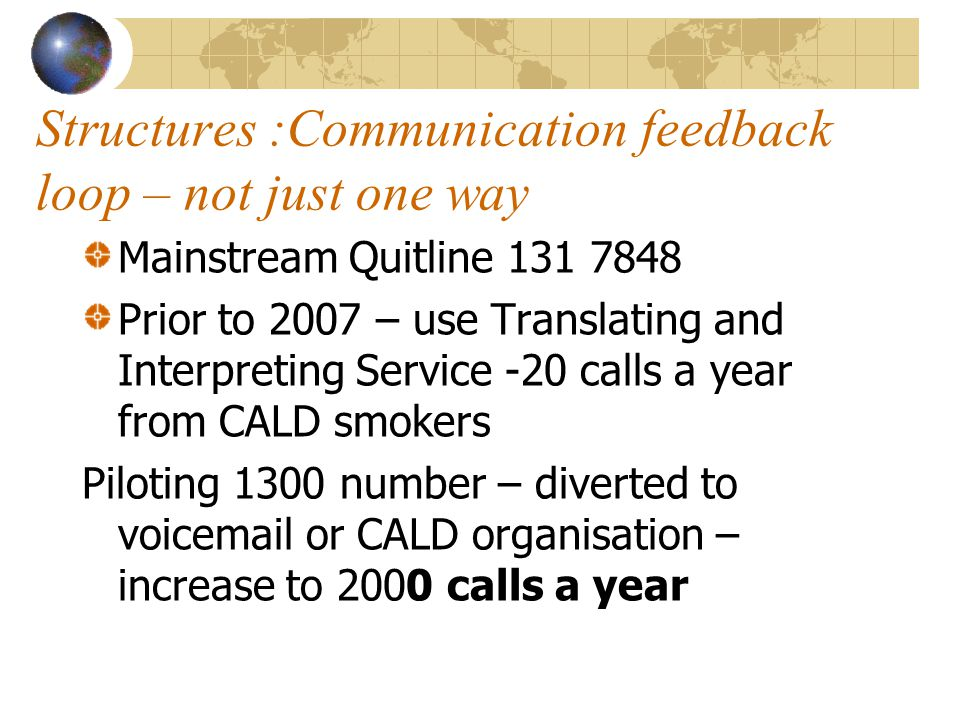 Structures :Communication feedback loop – not just one way Mainstream Quitline 131 7848 Prior to 2007 – use Translating and Interpreting Service -20 c