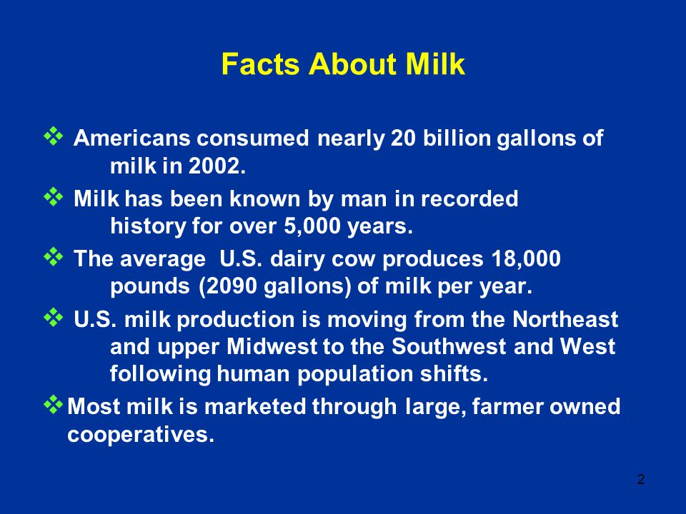 2 Facts About Milk Americans consumed nearly 20 billion gallons of milk in 2002. Milk has been known by man in recorded history for over 5,000 years.