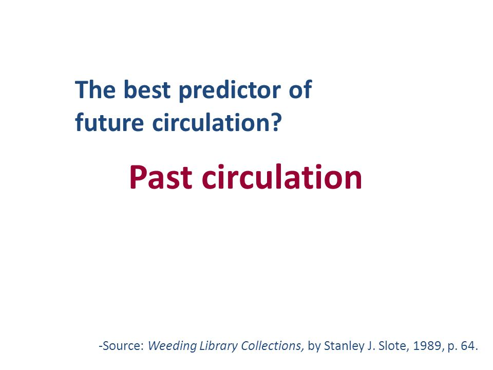 -Source: Weeding Library Collections, by Stanley J. Slote, 1989, p. 64. The best predictor of future circulation? Past circulation