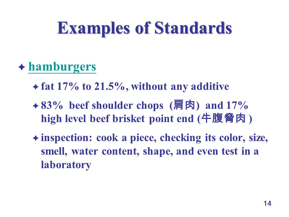 14 Examples of Standards hamburgers fat 17% to 21.5%, without any additive 83% beef shoulder chops ( ) and 17% high level beef brisket point end ( ) inspection: cook a piece, checking its color, size, smell, water content, shape, and even test in a laboratory