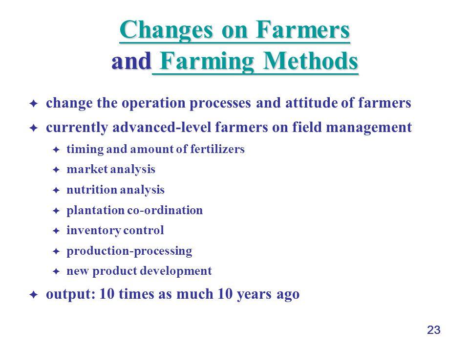 23 Changes on Farmers Changes on Farmers and Farming Methods Farming Methods Changes on Farmers Farming Methods change the operation processes and att